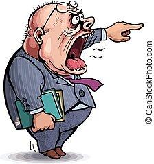 spoinowanie, boss., człowiek, wrzaskliwy, gniewny, poza