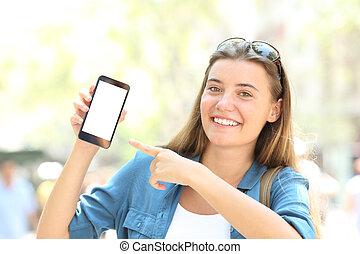 spoinowanie, ekran, smiley, telefon, czysty, dziewczyna, mądry