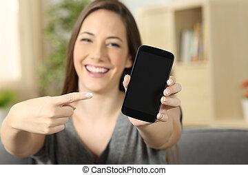 spoinowanie, ekran, telefon, czysty, dziewczyna, pokaz