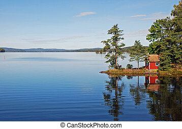 spokój, jeziorowe odbicie