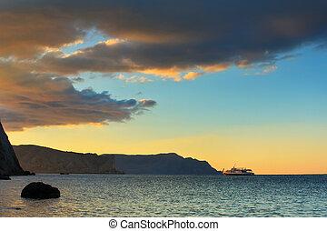 spokój, zachód słońca, na, przedimek określony przed rzeczownikami, ocean, plaża