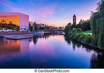 spokane, horloge, parc, riverfront, tour, rivière