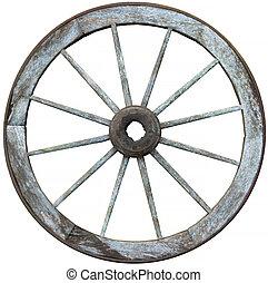 spoked, douze, acier, bois construction, roue, chariot