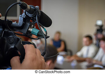 spokespersons, 出版物, event., カバー, 録音, ニュース, conference., カメラ, ジャーナリスト, desk., テレビ
