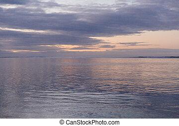 spokojny, świt, na, przedimek określony przed rzeczownikami, ocean