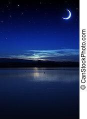 spokojny, lato, noc