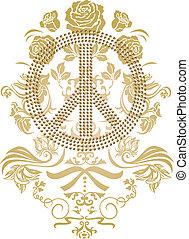 spokojny, logo, z, kwiat