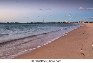 spokojny, plaża, wschód słońca
