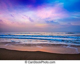 spokojny, wschód słońca, ocean
