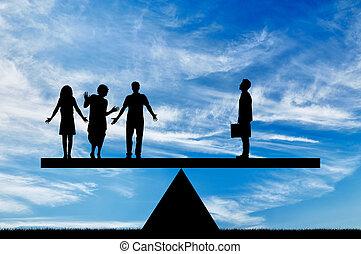 společenský, nerovnoprávnost, mezi, drahý, chudina