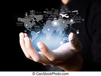 společenský, síť, a, moderní, komunikace, technika