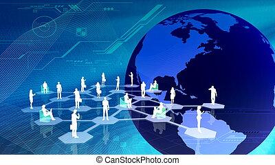společenský, síť, communitty