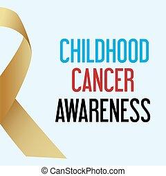 společnost, dětství, rakovina, den, povědomí, plakát, eps10