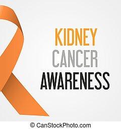 společnost, ledvina, rakovina, den, povědomí, plakát, eps10