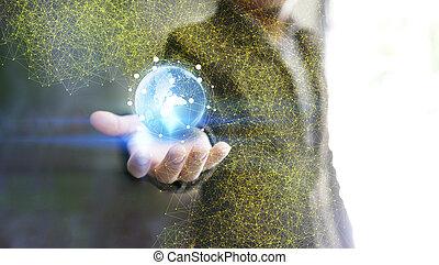 společnost, pojem, síť, spojený, společenský