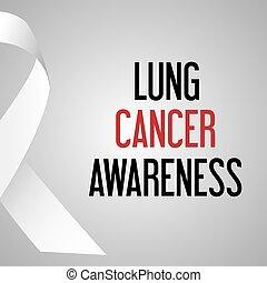 společnost, rakovina plic, den, povědomí, plakát, eps10