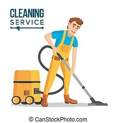 spolverata, pulitore, carpets., misure sanitarie, ufficio, lavoro pavimento, carattere, isolato, appartamento, washing., vacuuming, illustrazione, vector., pulire, cartone animato