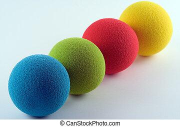 Sponge Balls - Blue, green, red and yellow sponge balls