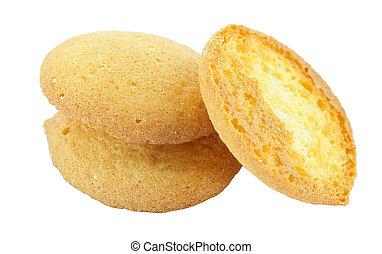 sponge biscuit on white background