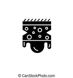 Sponge black icon concept. Sponge flat vector symbol, sign, illustration.