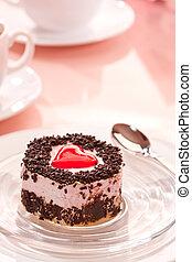 sponge-cake - food series: sweet fancy cake, heart decorated