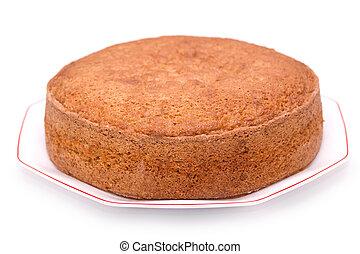 Sponge cake - Homemade sponge cake isolated on white ...