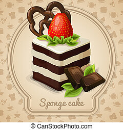 Sponge cake dessert with strawberry label and food cooking icons on background vector illustration