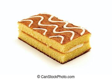 Sponge cake on a white background