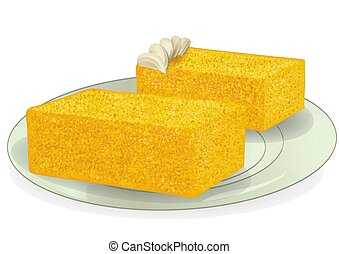 sponge cake on plate isolated on a white background
