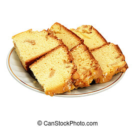 sponge cake on white background