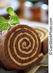 Sponge cake roll - Slices of sponge cake roll - detail