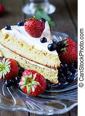 sponge cake with berries, food closeup