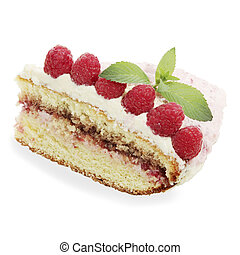 sponge cake with the raspberries, against the white ...