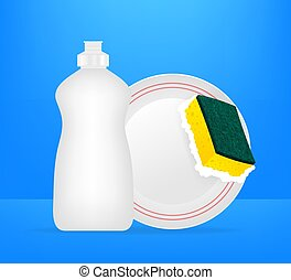 sponge., dishwashing, amarillo, platos, dishwashing, lavado, vector, ilustración, dishes., líquido, acción