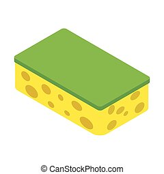 Sponge isometric 3d icon isolated on a white background