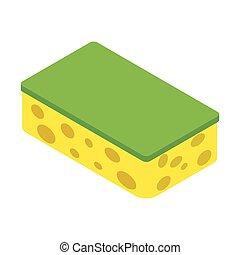 Sponge isometric 3d icon isolated on a white background