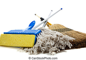 sponge mop, broom and string mop on white
