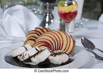 Sponge roll dessert in a la carte restaurant