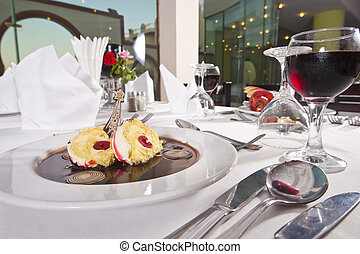 Sponge roll dessert in a la carte restaurant - Closeup...