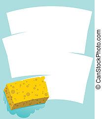Sponge Wipe - A cartoon sponge wiping a blank space.