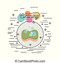 sponge with soap bubbles cleaning service colorful silhouette in circular frame with color bubbles and decorative stars and lines on white background