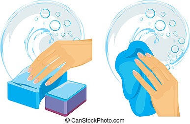 Sponges and cleaning rag in female hand. Vector illustration