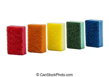 Sponges for washing dishes, isolated on white background
