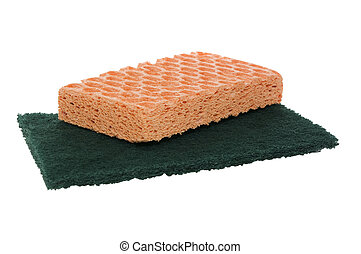 Sponges on white with clipping path
