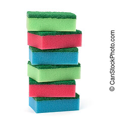 sponges stack isolated on the white background