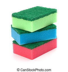 sponges group isolated on the white background