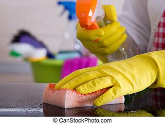spons, wasmiddel, vrouw, poetsen, vloeistof