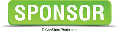 Sponsor green 3d realistic square isolated button
