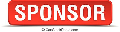 Sponsor red 3d square button isolated on white