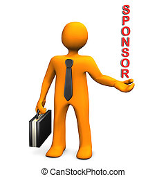Sponsor - Orange cartoon character with the text Sponsor....